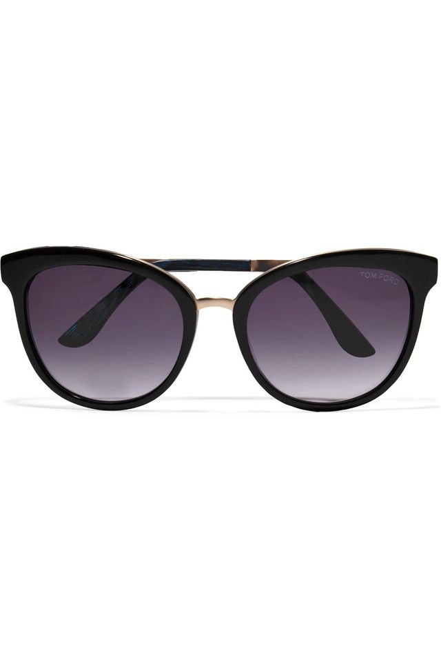 Tom Ford Cat Eye Acetate and Gold Tone Sunglasses