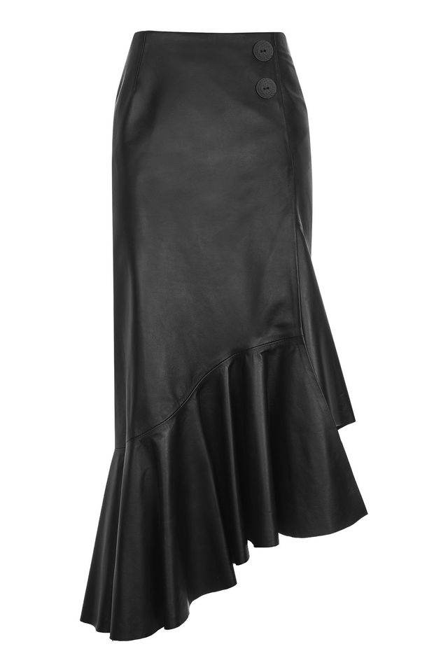 TopShop Ruffled Leather Skirt