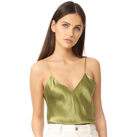 Fiora Silk Cami Top in Olive