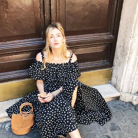 Dress Trends 2017: Camille Charriere wearing a Dolce & Gabbana polka dot dress