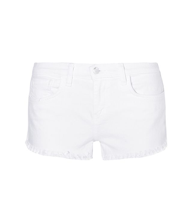 L'Agence Zoe Frayed Stretch-Denim Shorts