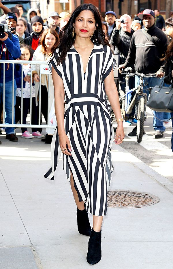 freida pinto striped dress