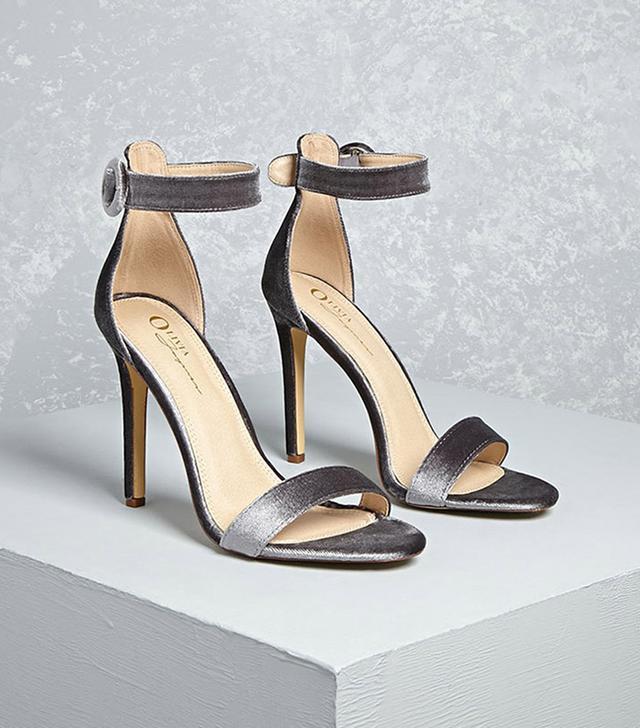 Forever 21 Velvet Ankle Strap Heels