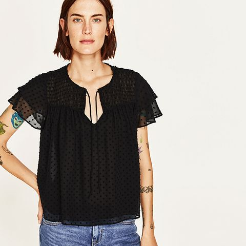 Dotted Mesh Top With Frilled Sleeves