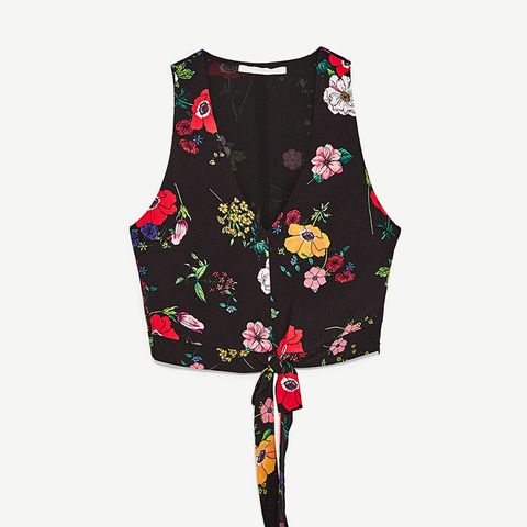 Knotted Floral Print Top