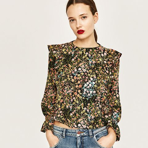 Printed Blouse with Frills