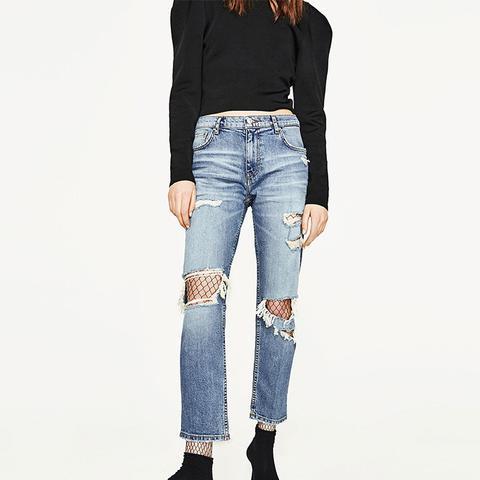 Slim Fit Mid-Rise Boyfriend Jeans