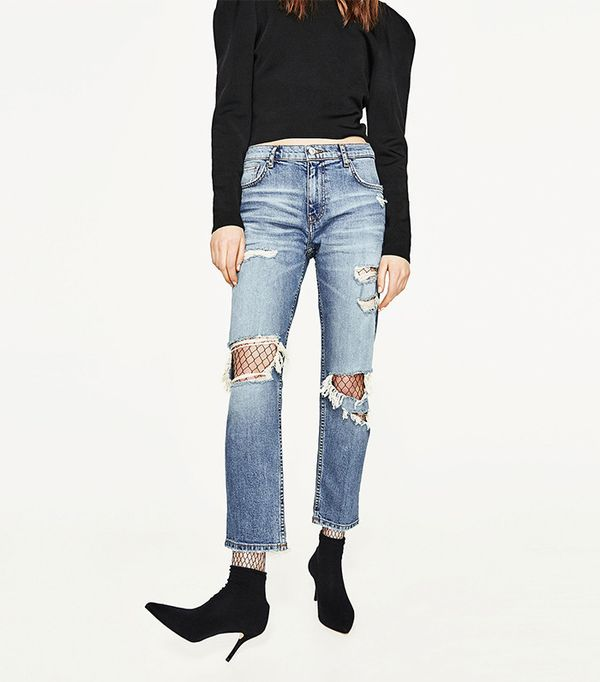Zara Slim Fit Mid-Rise Boyfriend Jeans