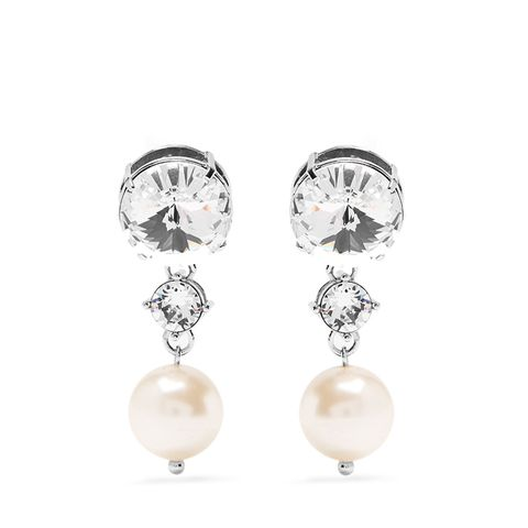 Faux-Pearl and Crystal Clip-On Earrings