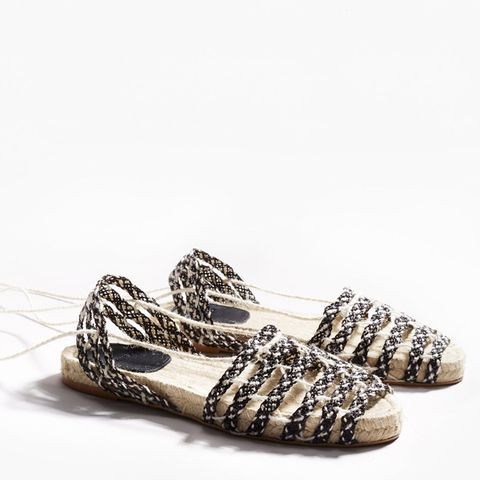 Lace-Up Braided Espadrilles