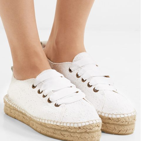 Lace-Up Broderie Anglaise Espadrilles