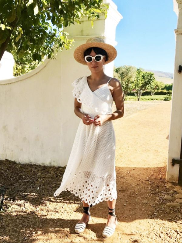 How to wear espadrilles: to tone down a smart dress