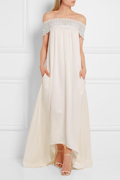 Self Portrait Bardot Guipure Lace-Trimmed Satin Gown