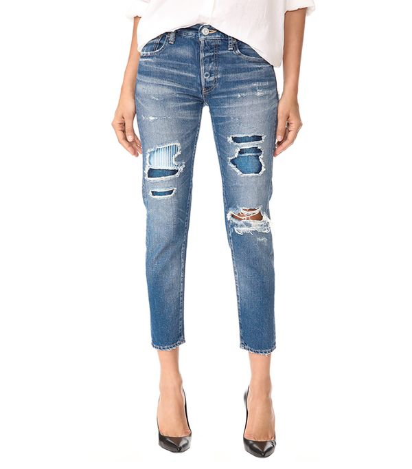 cool fashion brands - Moussy MV Repair Tapered Jeans
