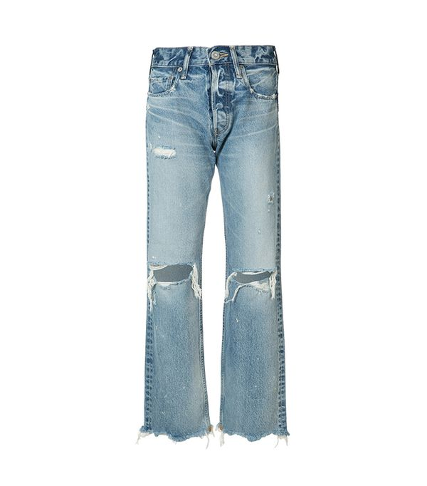 cool fashion brands - Moussy Distressed High-Rise Jeans