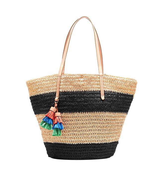 J.Crew Striped Straw Market Tote