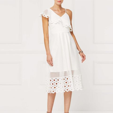 White One Shoulder Lace Dress