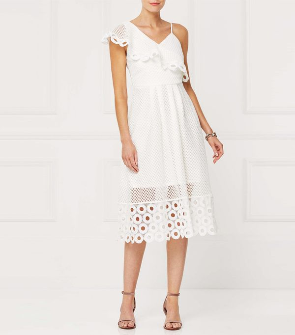 Best white summer dresses: Next White One Shoulder Lace Dress