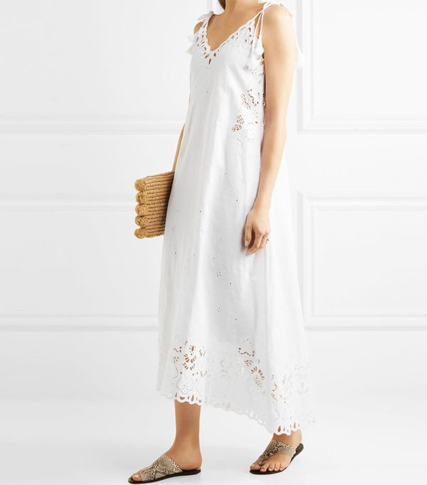Best white summer dresses: Theory Taytee broderie anglaise linen and cotton-blend dress