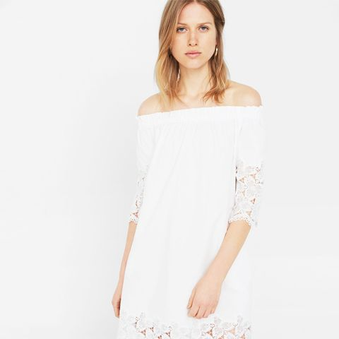 Off-Shoulder Poplin Dress