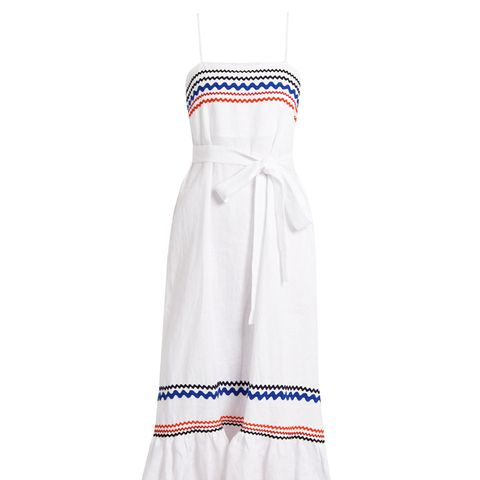 Ric-Rac Trimmed Linen Slip Dress