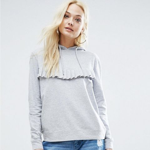 Lightweight Hoodie With Ruffle Front