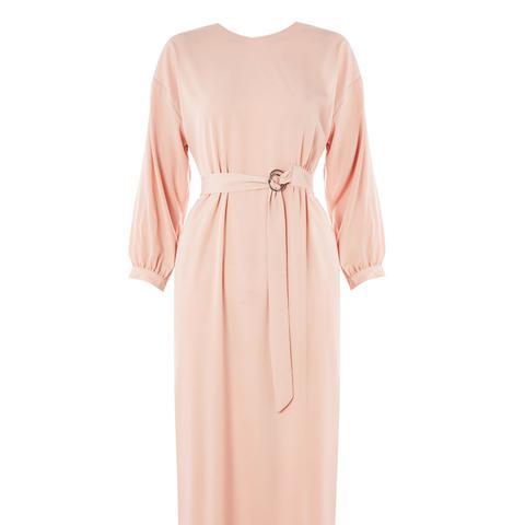 D-Ring Wrap Midi Dress
