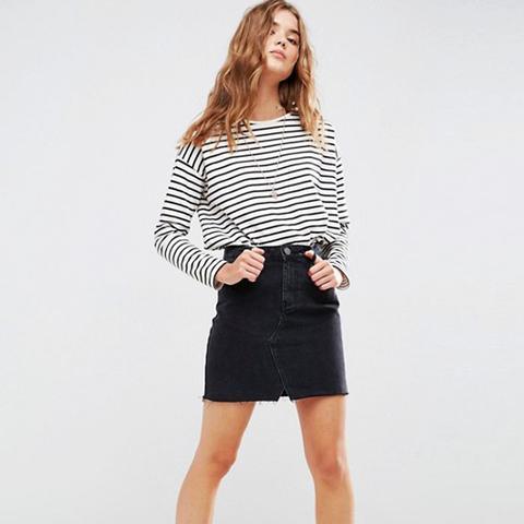 Denim Pelmet Skirt in Washed Black