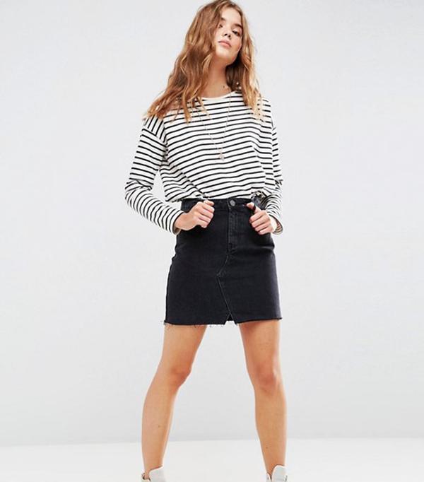 High Street Shopping Picks: ASOS Denim Pelmet Skirt In Washed Black