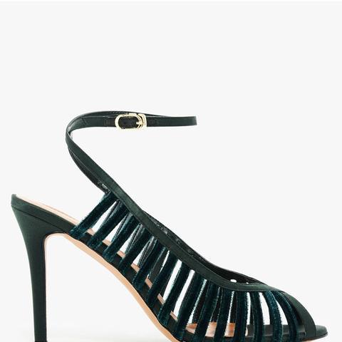 Velvet Caged Sandals