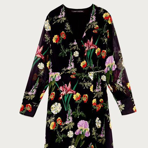 Printed Mini Wrap Dress