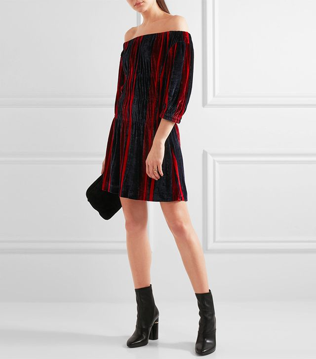 Sonia Rykiel Off-the-Shoulder Striped Velvet Mini Dress