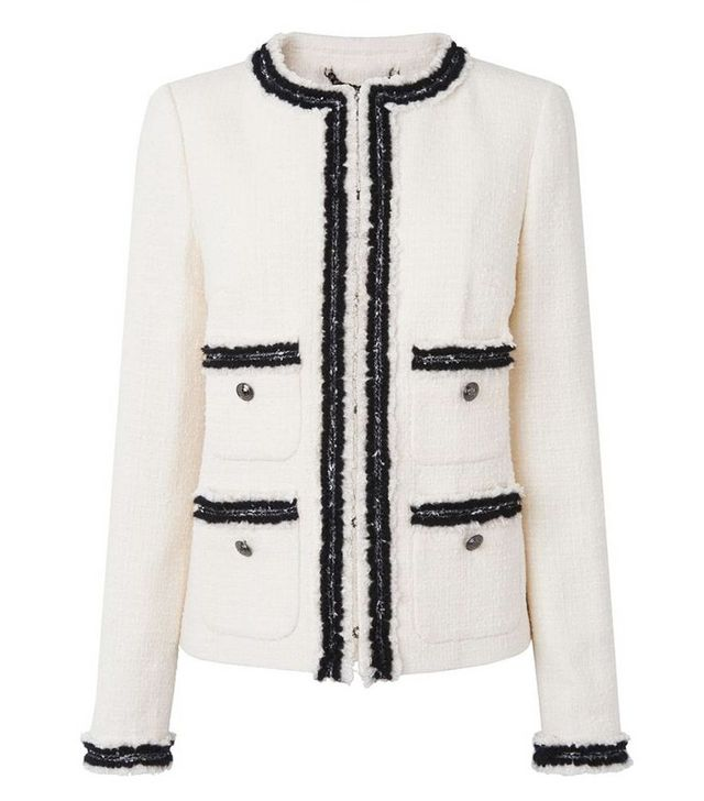 L.K.Bennett Charl Cream Cotton Mix Jacket