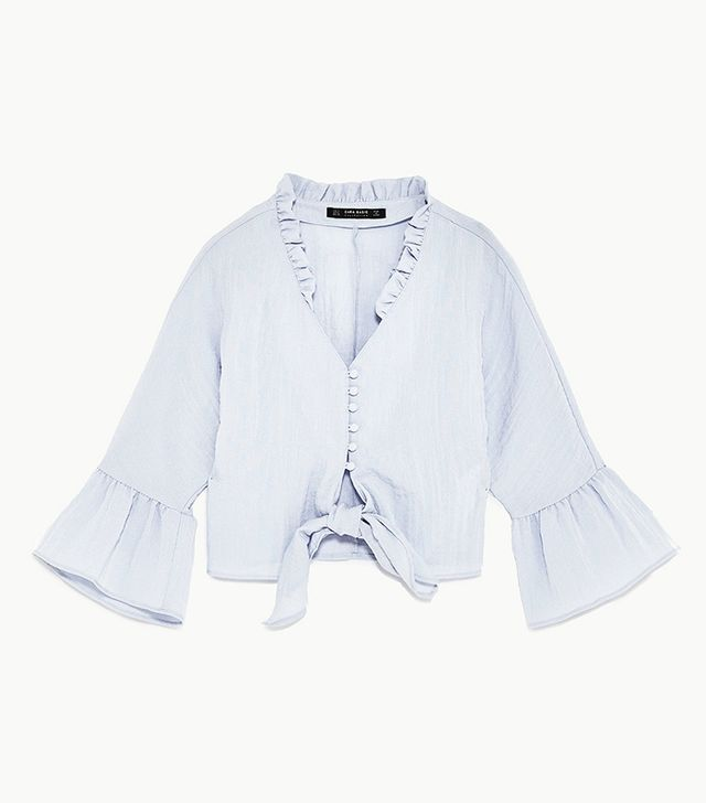 Zara Cropped Knotted Blouse