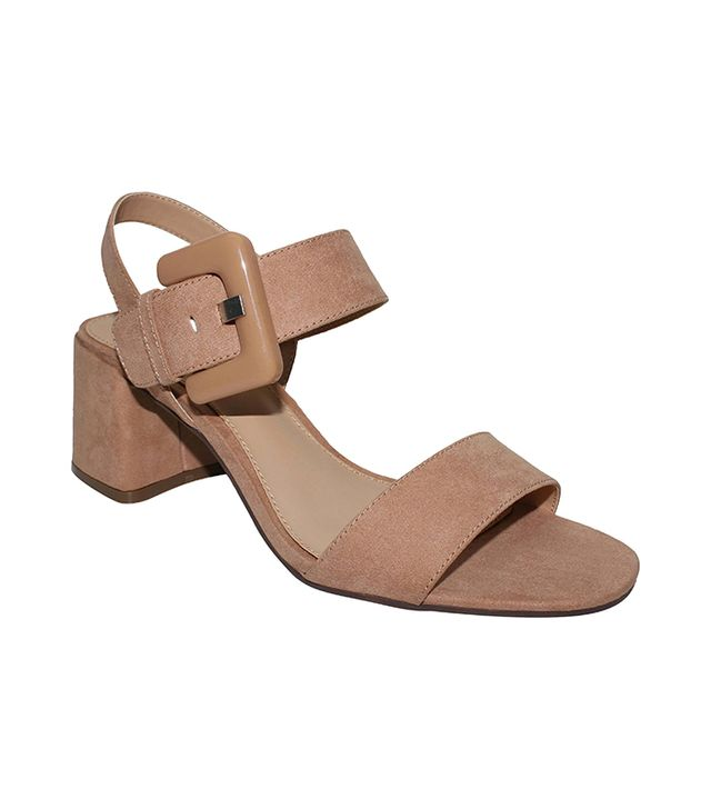 Who What Wear Anastasia Buckle Strap Sandals in Nude