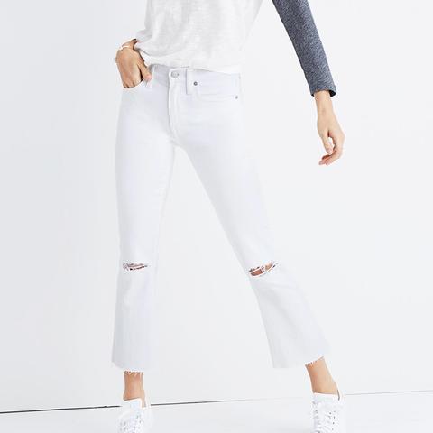 Cali Demi-Boot Jeans in Pure White: Distressed Edition