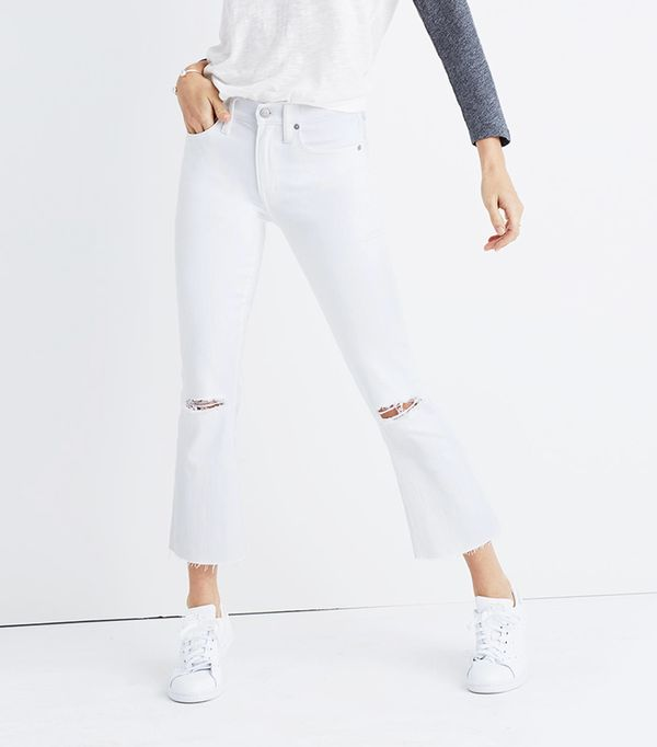 Madewell Cali Demi-Boot Jeans in Pure White: Distressed Edition