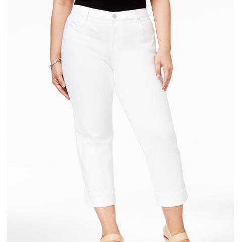 Plus Size Cuffed Capri Jeans