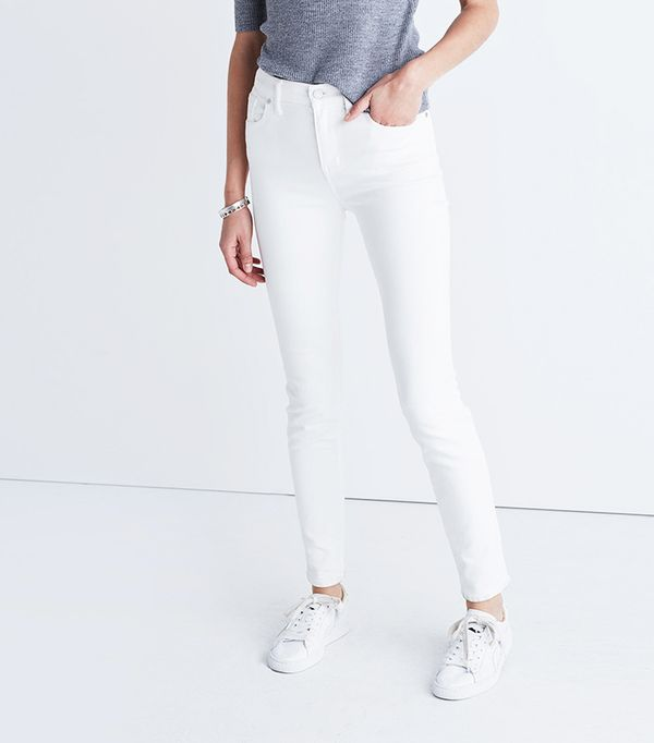 """Madewell 9"""" High-Rise Skinny Jeans in Pure White"""