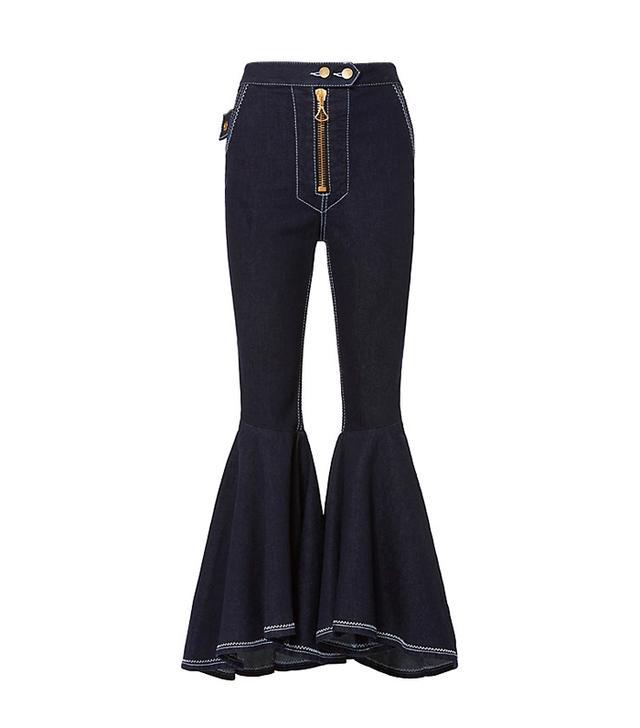 Ellery Ruffled Flare Crop Jeans