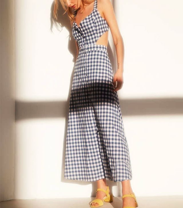 Glamorous Cutout Gingham Midi Dress