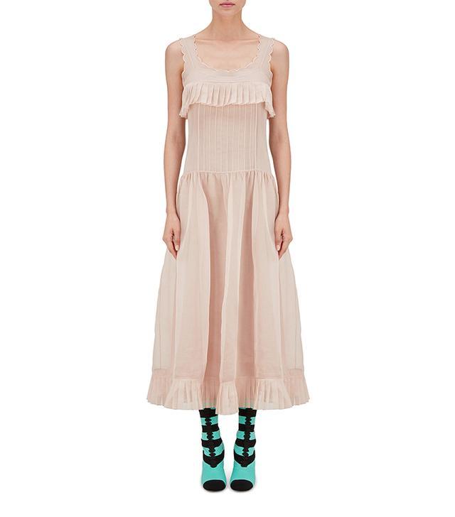Fendi Long Dress in Pink Cotton Muslin
