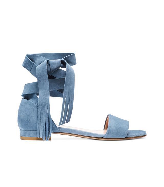 Stuart Weitzman Corbata Ankle-Wrap Sandals
