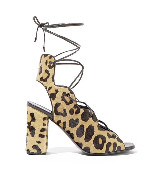 Saint Laurent Leopard-Print Calf Hair Lace-Up Sandals