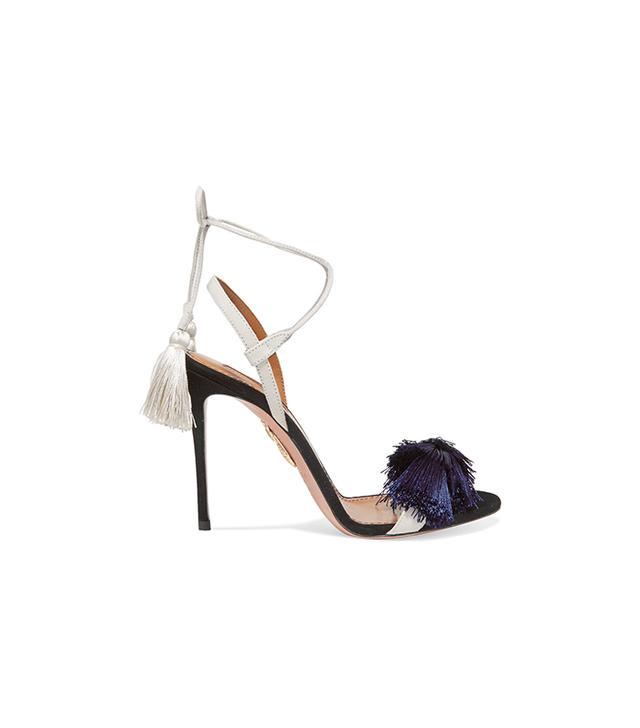 Aquazzura + Johanna Ortiz Tasseled Two-Tone Suede Sandals