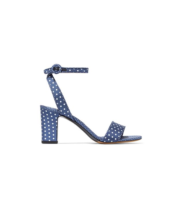 Tabitha Simmons Leticia Polka-Dot Twill Sandals