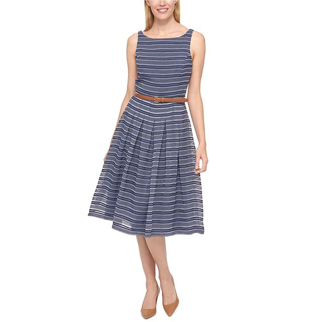 Tommy Hilfiger Belted Shadow-Stripe Dress