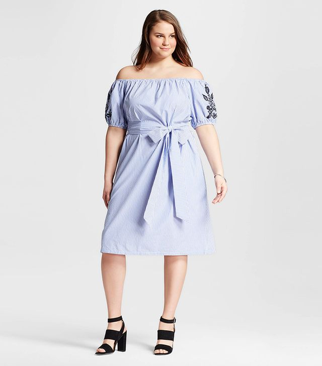 Who What Wear Plus Size Embroidered Belted Bardot Dress in Blue Stripe