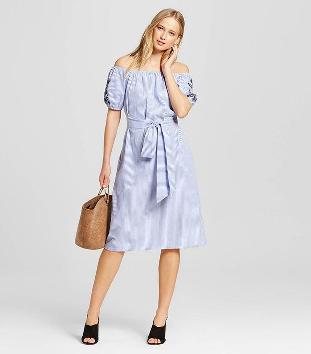 Who What Wear Embroidered Belted Bardot Dress in Blue Stripe