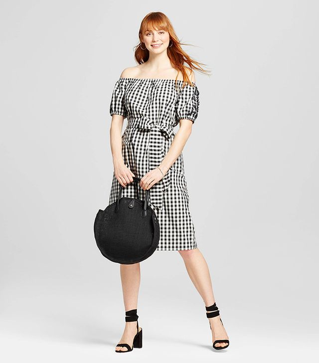 Who What Wear Embroidered Belted Bardot Dress in Black Plaid